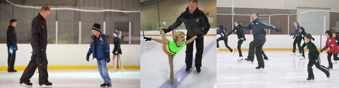 Coach Tom Z working with figure skating students
